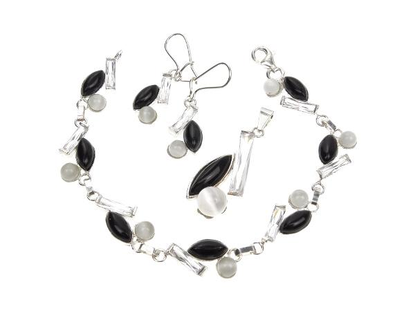 916339e9064bf8 Komplet biżuterii srebrnej - onyks, cyrkonia, szary uleksyt